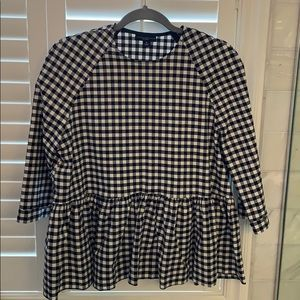 Victoria Beckham for Target navy gingham top